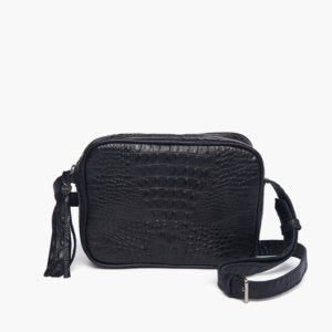 Bjoy - Joana Black Croc Shoulder Bag