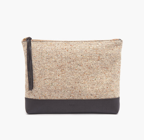 bjoy - Maria clutch fabric with brown leather