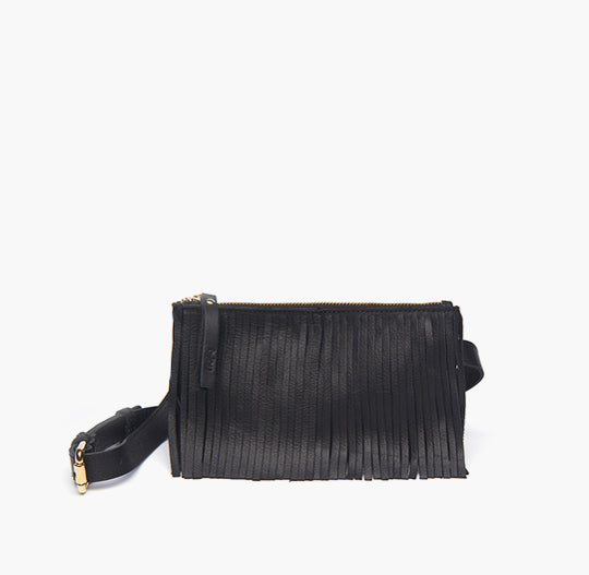 bjoy - Rita Waist Bag with Fringes - Black Leather