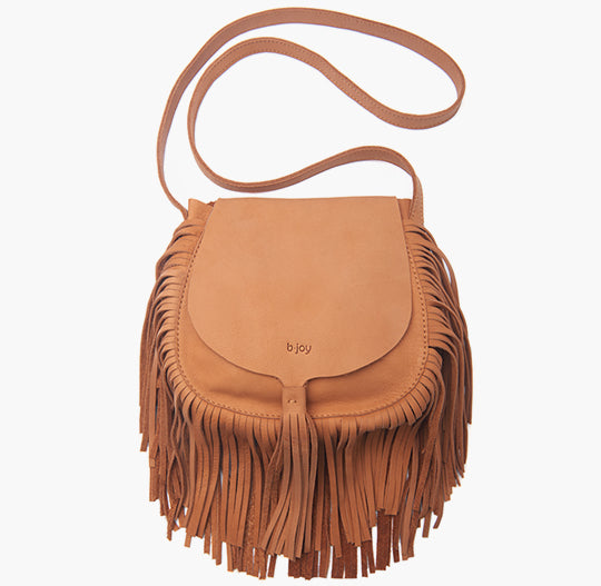 bjoy- leather Shoulder Bag with fringes