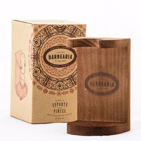 antiga barbearia - shaving brush wood stand