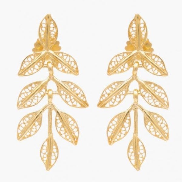 Earrings Filigree Leaves 3.5cm Gold Plated Silver