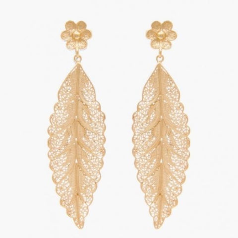 Earrings Filigree Leaf Gold Plated Silver