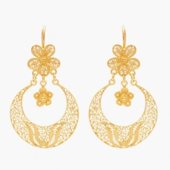 Portugal Jewels - Earrings Arrecadas Flower in Gold Plated Silver