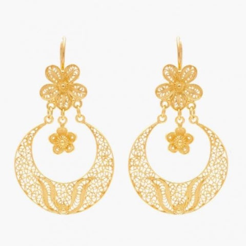 Earrings Arrecadas Flower in Gold Plated Silver