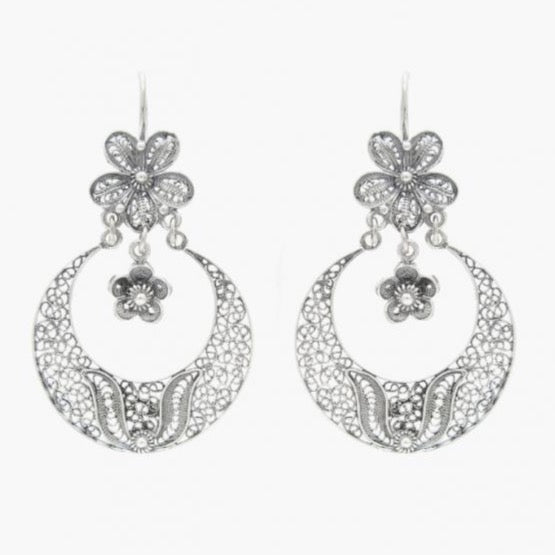 Portugal Jewels - Earrings Arrecadas Flower in Silver