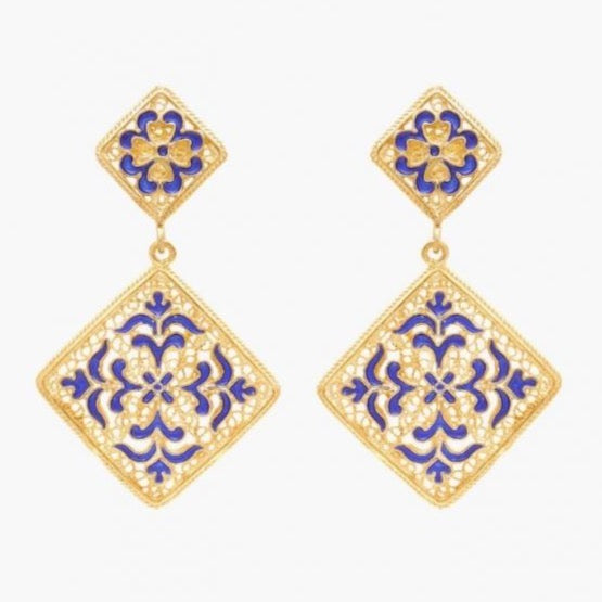 Portugal Jewels - Earrings Azulejo in Gold Plated Silver