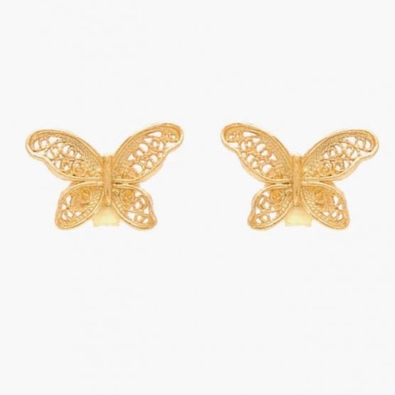Earrings Butterfly in Gold Plated Silver