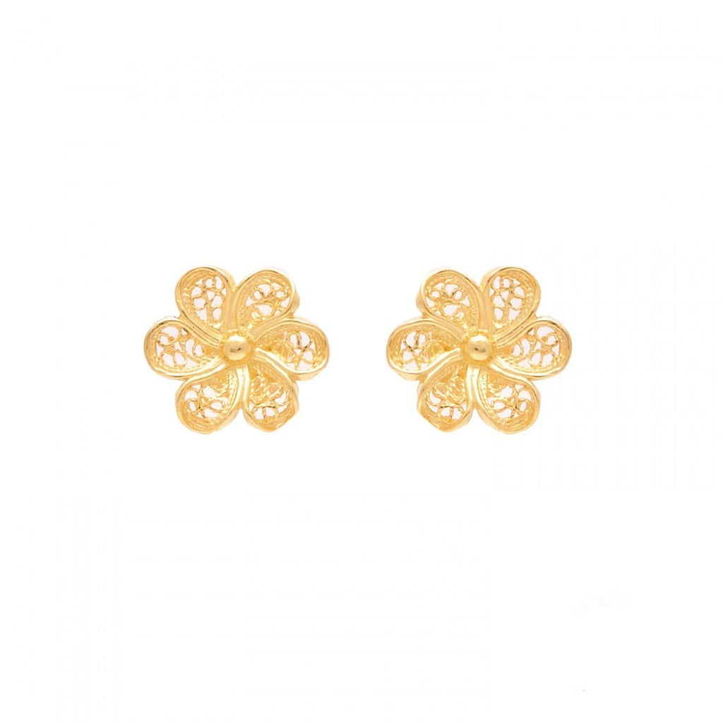 Portugal Jewels - Earrings Flower in Gold Plated Silver