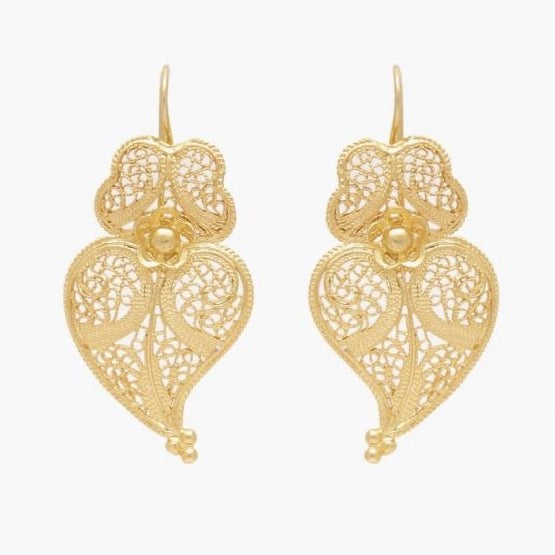 Earrings Heart of Viana in Gold Plated Silver; Various Sizes