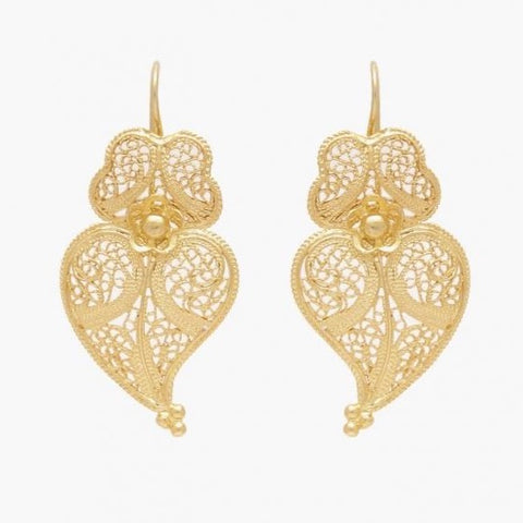 Portugal Jewels - Earrings Heart of Viana in Gold Plated Silver; Various Sizes