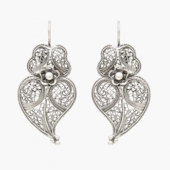 Portugal Jewels -Earrings Heart of Viana in Silver; Various Sizes