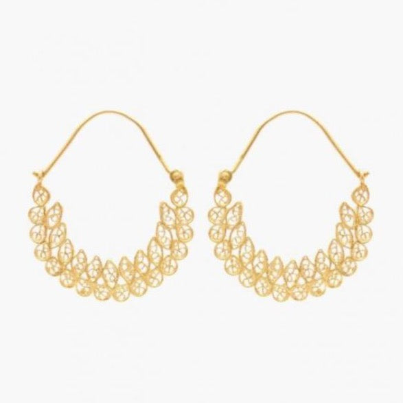 Earrings Arrecadas Filigree in Gold Plated Silver