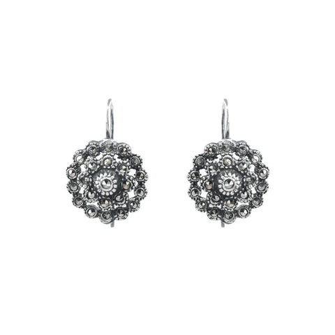 Portugal Jewels - Earrings Pinecone Marcasites in Silver