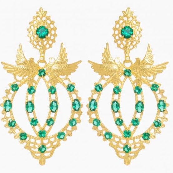 Portugal Jewels - Earrings Queen Dove in Emerald Gemstone - Ana Moura Collection