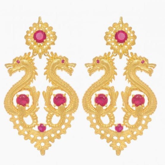 Portugal Jewels - Earrings Queen Dragon XL in Ruby Gemstone - Ana Moura Collection