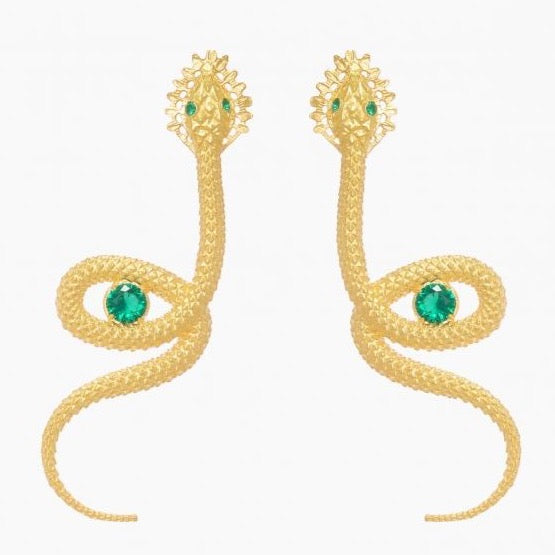 Earrings Snake in Emerald Gemstone - Ana Moura Collection