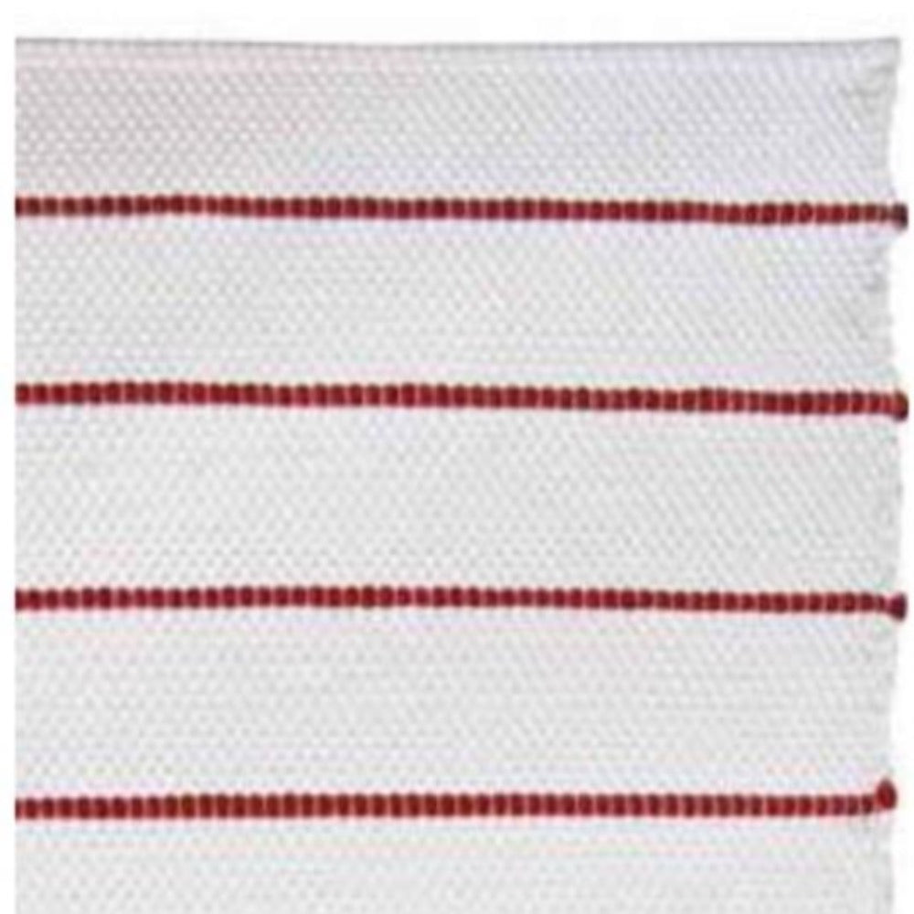 White Cotton Rug with Stripes - Various Colours