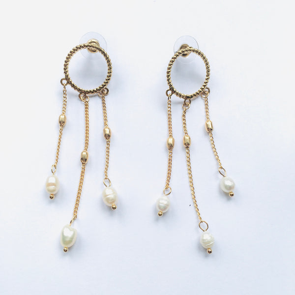 Earrings Pearl 3 Pendent Silver Gold Plated