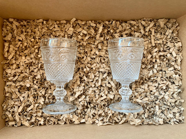 Gift Set - 2 Pointed Vintage Port Glasses - Various Colours