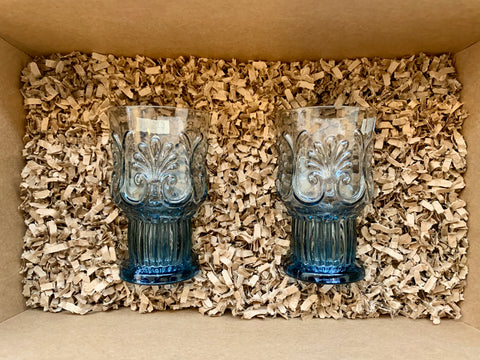 Gift Set - 2 Small Vintage Stem Glass - Multiple Colours