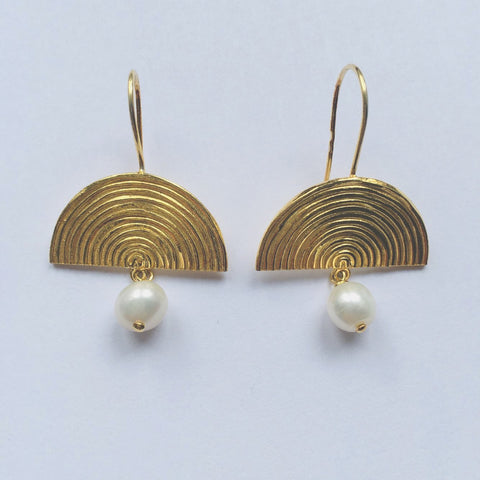 Semi-Circle Pearl Drop Earrings