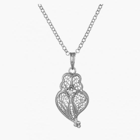 Portugal Jewels - Necklace Heart of Viana in Silver; Various Sizes