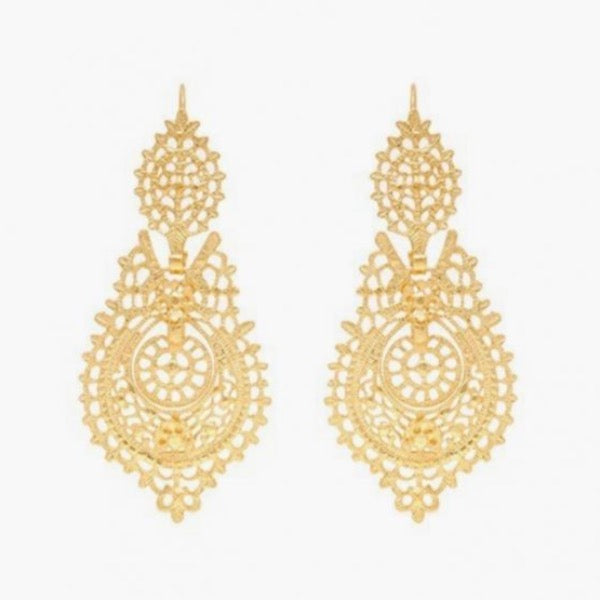 Portugal Jewels - Queen Filigree Earrings Gold Plated Silver, Various sizes