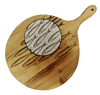 Round Wood Serving Board - Round with Cobblestone tile insert; Various styles