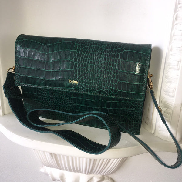 Vera Crossbody Handbag in Croco Print Green Leather