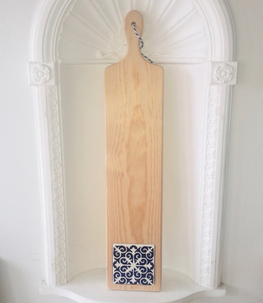 Long narrow Serving board with tile; Various Styles