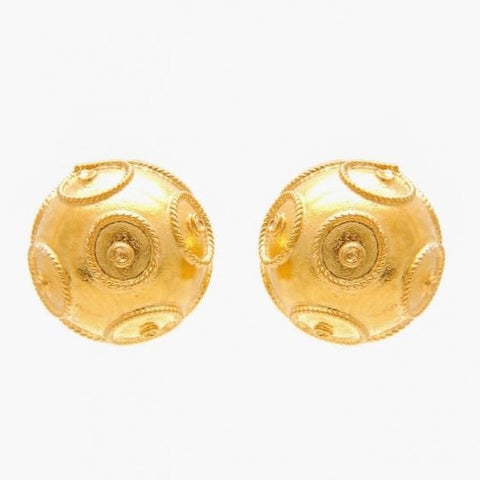 Portugal Jewels - Earrings Viana's Conta studs 1cm in Gold Plated silver