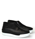 Jodie Back zip Shoes soft perforated leather black