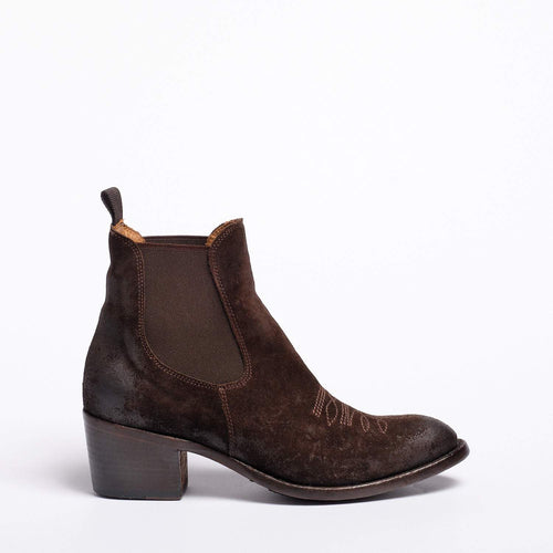 Sheila Texan  boot Oiled Suede  Dark brown