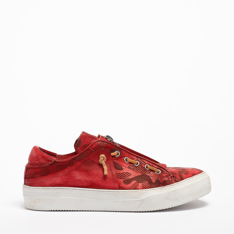 Virus Laced Shoes soft natural leather red