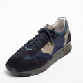 Mundialito Laced Shoes suede and nylon with vacchetta leather insert blu