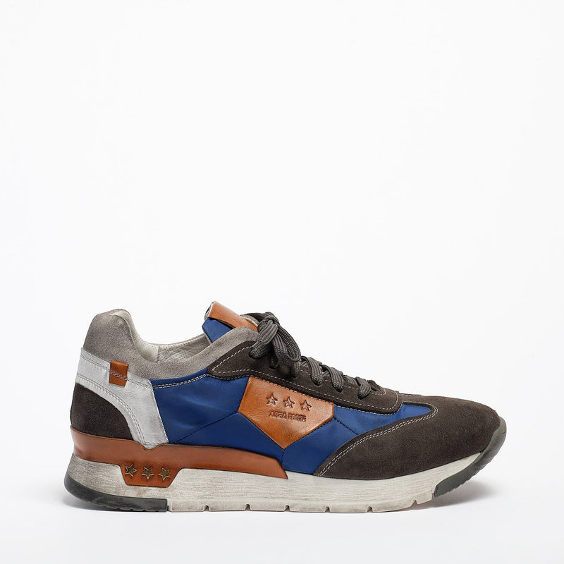 Mundialito Laced Shoes suede and nylon with vacchetta leather insert grey-navy