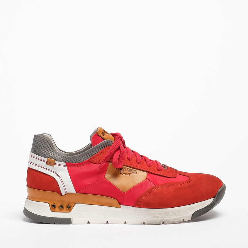 Mundialito Laced Shoes suede and nylon with vacchetta leather insert red