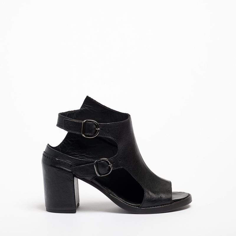 Lorna Buckles Open Shoes natural vacchetta leather black