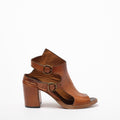Lorna Buckles Open Shoes natural vacchetta leather cuoio