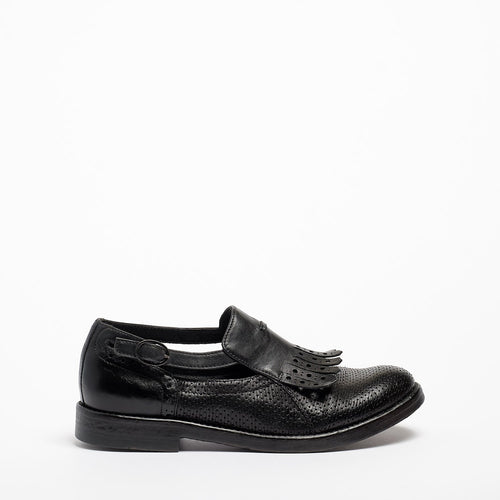 Laverne Buckle side open Shoes perforated natural vacchetta leather black