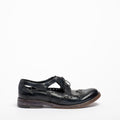 Madeline Laced side open Shoes natural vacchetta leather dark navy