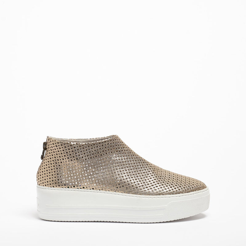 Jodie Back zip  Shoes soft perforated leather platino