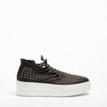 Annie Mid open studs shoe soft natural leather black