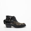 Brianna Stars open Texan Boots natural vacchetta leather black