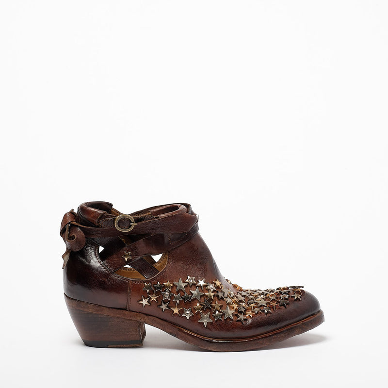 Brianna Stars open Texan Boots natural vacchetta leather terra
