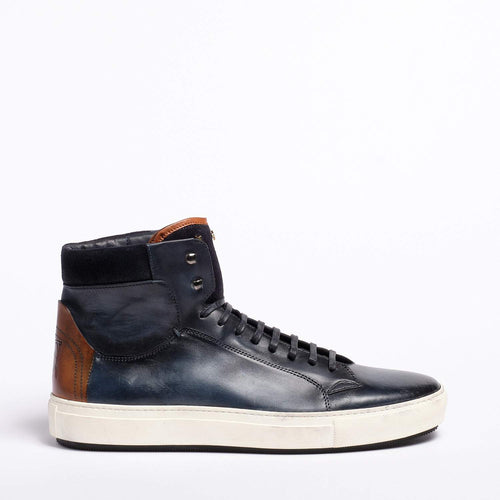 Ted Laced Mid  shoes Natural Vacchetta leatehr navy