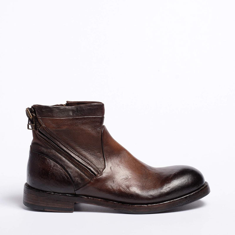 Zodiac Double Zip Mid Boot Natural Buffalo leather dark brown