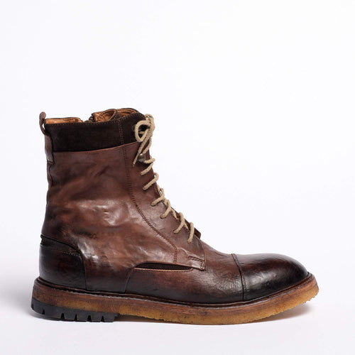 Lipp Laced Mid Boot Natural Vacchetta leather dark brown
