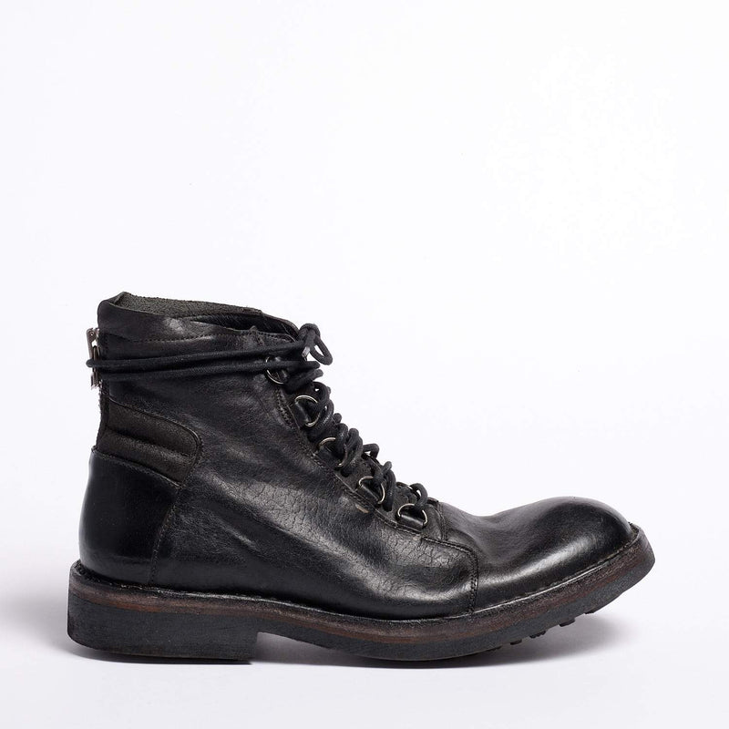 Jimmy Laced Mid Boot Natural Vacchetta leather black